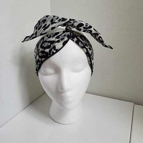 Animal Print Black/Gray Wire-wrapped Headband