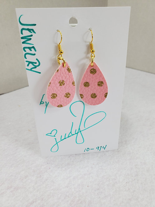Pink w/ gold dots leather teardrop with gold-tone wires
