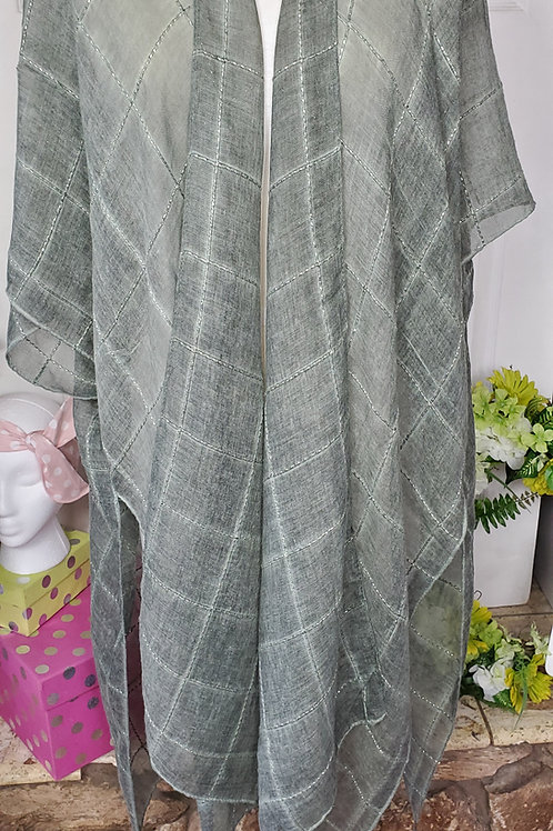 Olive Windowpane Lurex Tassel Kimono