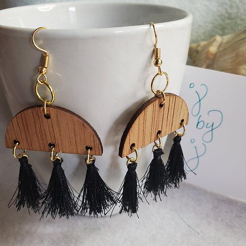 """j by j 2"""" Black Tassel w/wood earrings w/gold tone metal"""