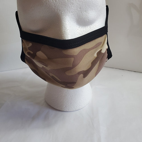 Desert Camo: Camouflage Print Fabric Contour Face mask:  Over the Ear