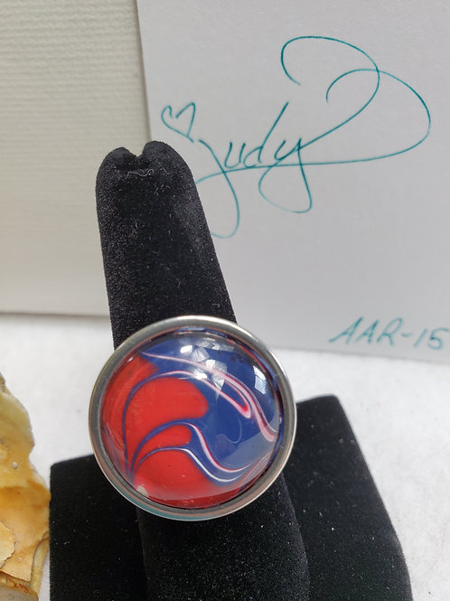 Artistic Acrylic Red/White/ Blue LG adjustable size ring-Stainless Ste