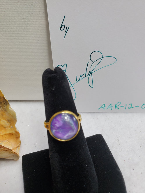 Artistic Acrylic Multi Purple small adjustable size ring-gold tone ovr stainless