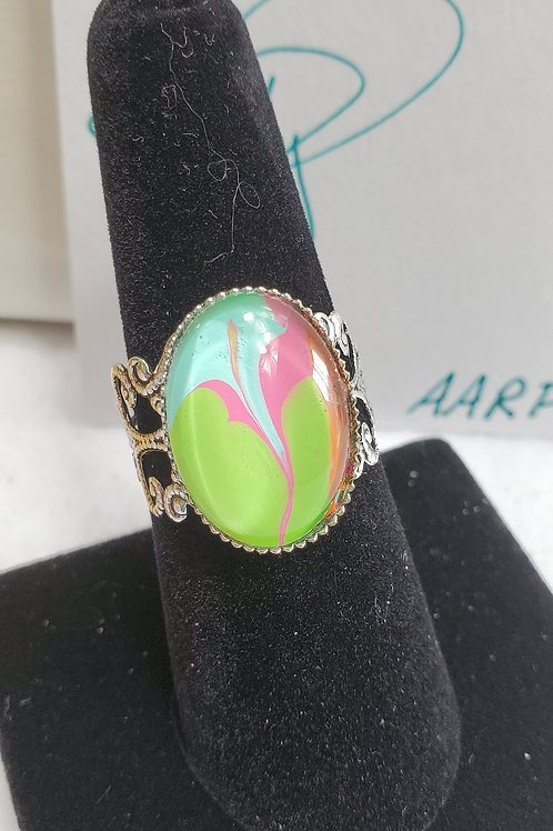 Artistic Acrylic Green/Pink/Turquoise/Orange Fancy Oval adjustable size ring-SS