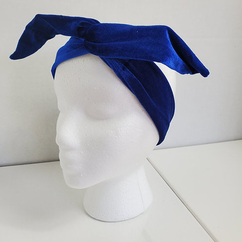 Royal Blue Velvet Wire-wrapped Head