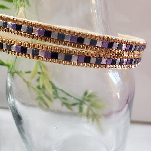 Single Strand Dble Wrap Tan Faux Leather Bracelet w/trim magnetic clasp