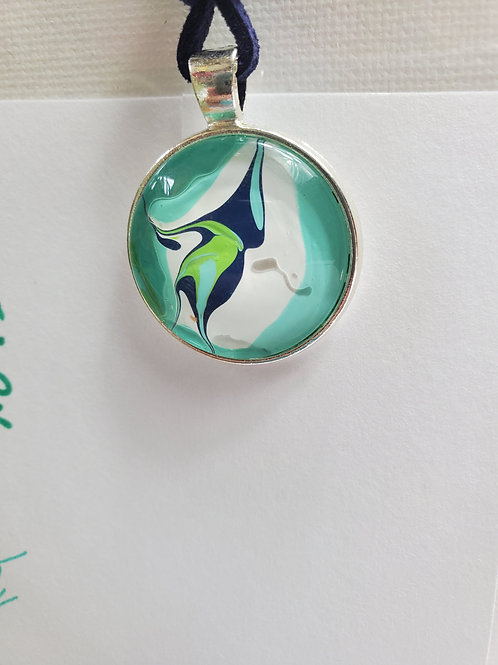 """Artistic Acrylic Round Teal/Navy/Green Pendant 17"""" navy leather cord Silver-tone"""