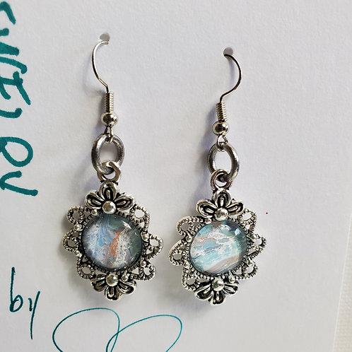 Artistic Acrylic Bay Shore Fancy Dangle Earrings on silver-tone metal