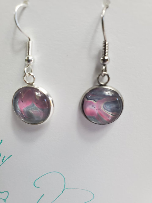 Artistic Acrylic Silver/Teal/Pink-2 Dangle Earrings on Silver-tone metal