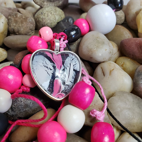 Pink/White/Black key chain with custom beads and acrylic heart pendant
