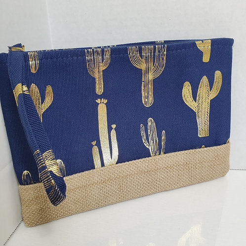 Small 6 1/2 x 9 1/2 Metallic Cactus Print canvas tote navy and gold