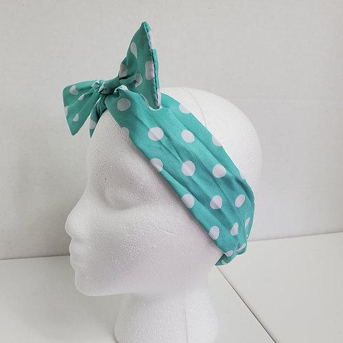 Turquoise w/white polka dots Color Brights Bow-Tie end Wire-wrapped Headban