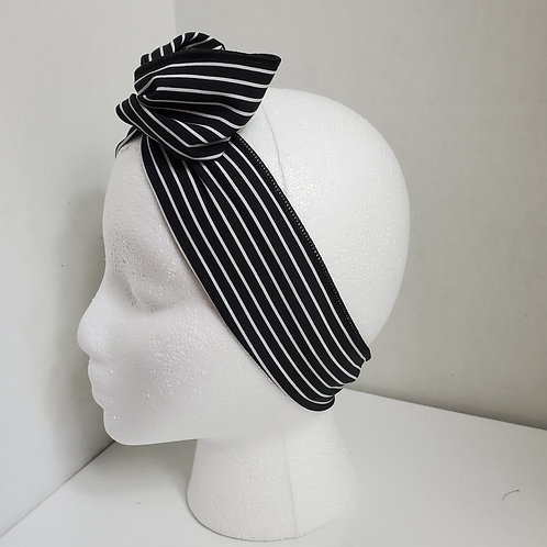 Black w/White Stripes Wire-wrapped Headband