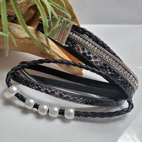 3 Strand Black Dble wrap Pearl Faux Leather Bracelet w/rhinestone magnetic clasp