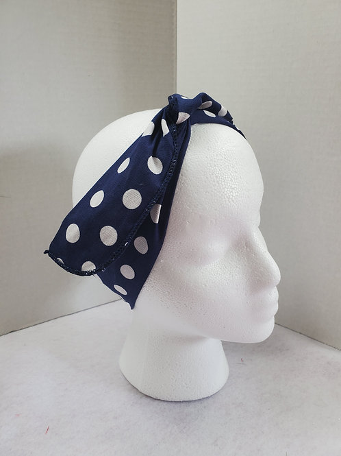 Navy w/white polka dots Wire-wrapped Headband