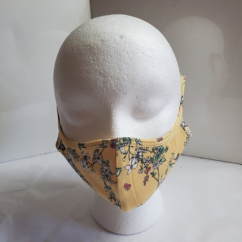Cotton Face Mask /w Teal Flower Print Over the Ear