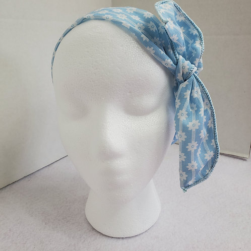 Blue Floral Print Wire-wrapped Headband