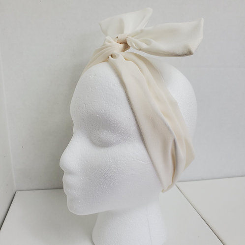 Winter White Solid Color Crepe Bow-Tie end Wire-wrapped Headband