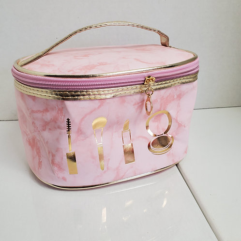 8 1/2 x 5 oval Pink Marble Faux Leather cosmetic bag w/ zip opening in gold tone
