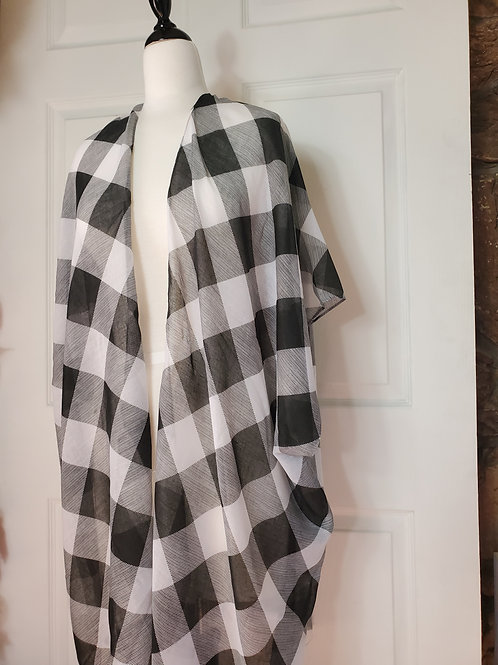 Lightweight Black/white Buffalo Check Kimono