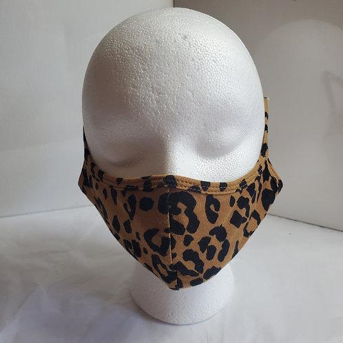 Cotton Face Mask /w Leopard Print: Leopard Over the ear