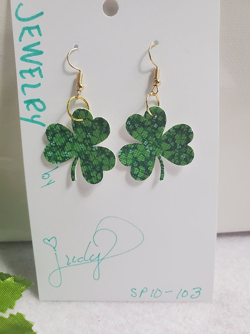 Shamrock Green print on Green faux leather w/gold-tone wires