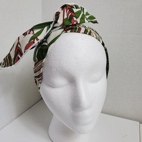 Tropical Print Brick/Green/Cream Wire-wrapped Headband