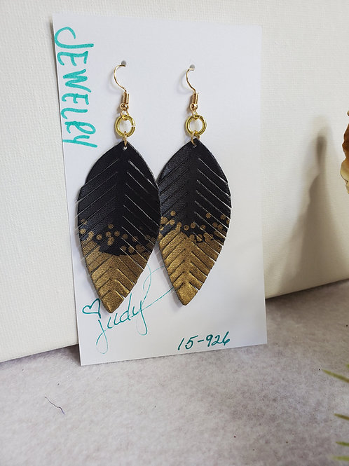 Super soft Black Leather Feather w/gold tips and gold-tone wires dangle earrings