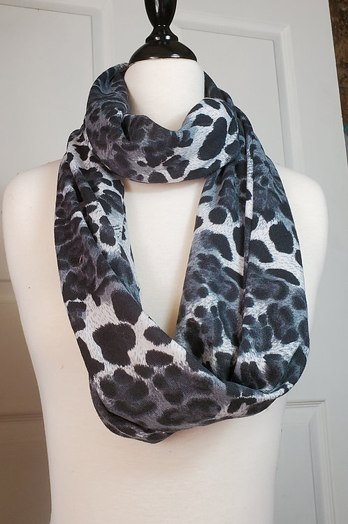 Black/Gray Animal Print Infinity Scarf