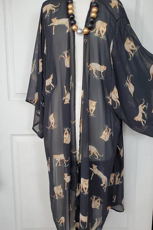 Black with Cheetah Print Plus Size Kimono