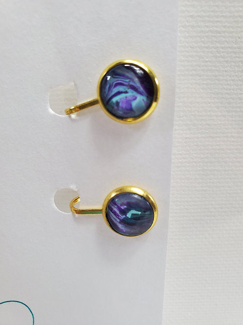 Artistic Acrylic Purple/Turquoise CLIP-ON Earrings gold-tone metal