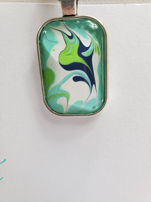 """Artistic Acrylic Teal/Navy/Green Oblong Pendant 17""""navy leather cord Silver-tone"""