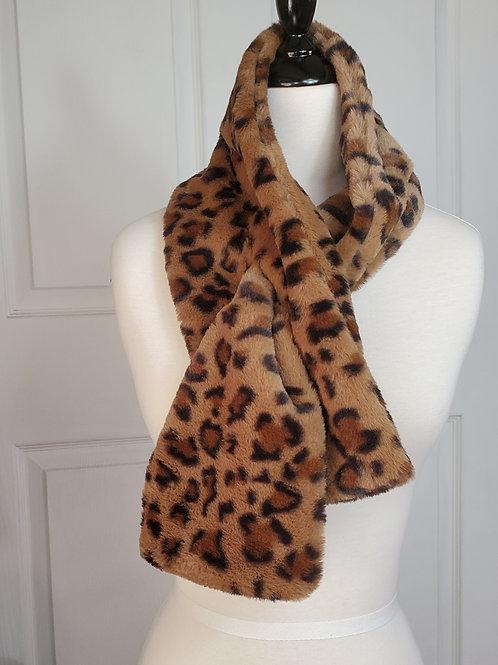 Leopard Print Brown Faux Fur Tuck-In scarf