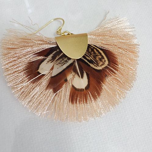 Bohemian Drop Beige and Brown Feather fringe tassel dangle earrings