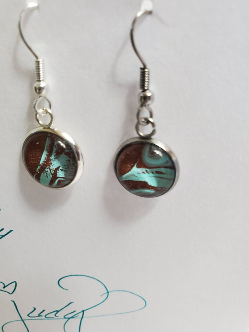 Artistic Acrylic Bronze/Turquoise Dangle Earrings on silver-tone metal