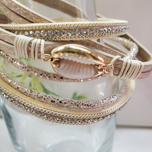 4 Strand Dble Wrap Champagne Faux Leather Bracelet w/shell charm magnetic clasp