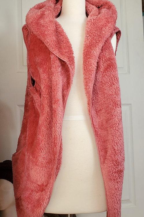 Rose color Faux Fur Pocket Hooded Vest