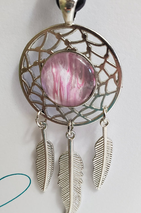 """Artistic Acrylic Pink Dream Dream Catcher necklace 11 1/2""""black leather"""