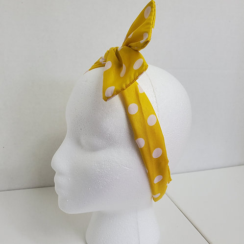 Yellow w/white polka dots Color Brights Bow-Tie end Wire-wrapped Head