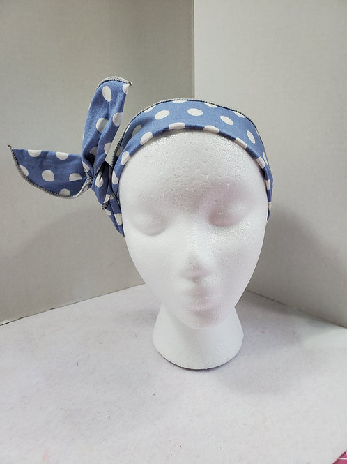 Blue w/White Polka Dots Wire-wrapped Headband