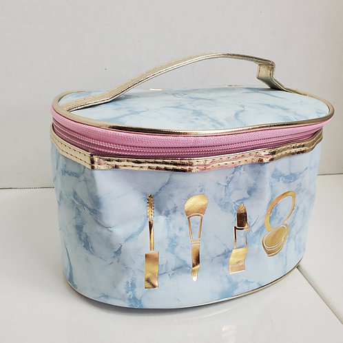 8 1/2 x 5 oval Blue Marble Faux Leather cosmetic bag w/ zip opening in gold tone