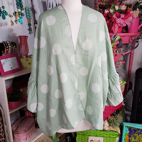 Green w/white Polka dots ruffle sleeve short Kimono