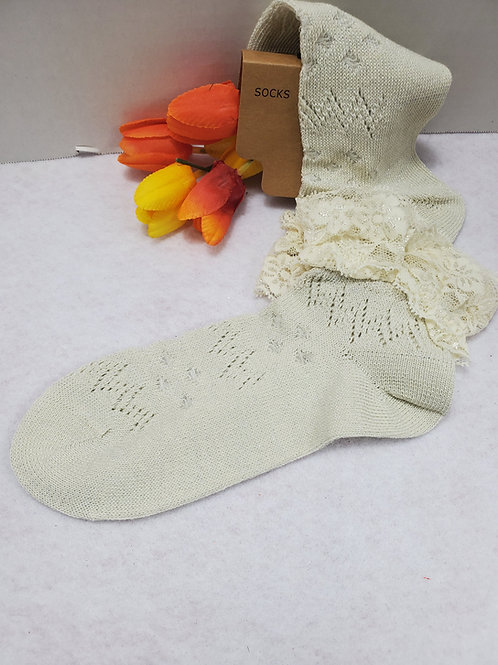 Ivory Laced Ankle Socks
