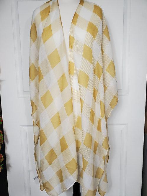 Lightweight Mustard/white Buffalo Check Kimono