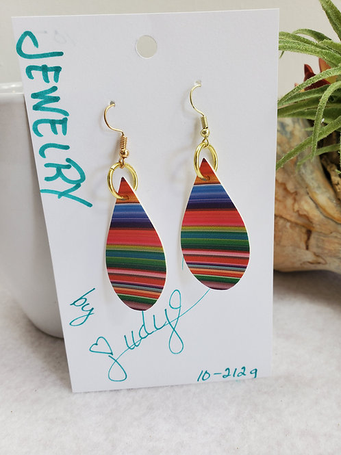 Colorful Serape faux leather Feather teardrop dangle earrings w/gold-ton