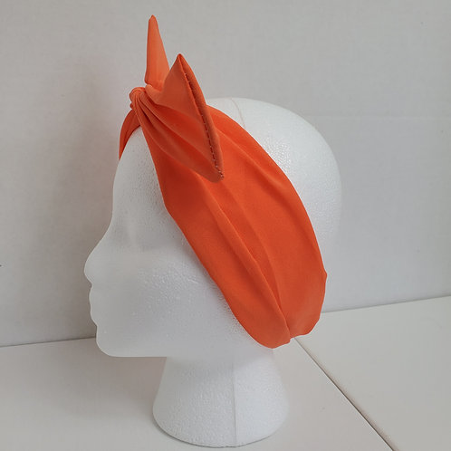 Orange Solid Color Crepe Bow-Tie end Wire-wrapped Headband