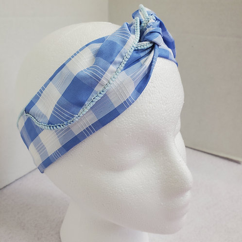 Blue/White Checked Wire-wrapped Headband