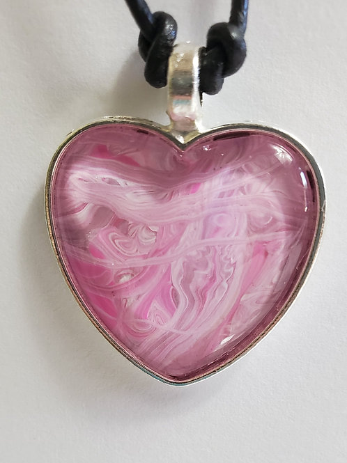 "Artistic Acrylic Pink Dream Heart Shaped Pendant 13"" black leather cord"