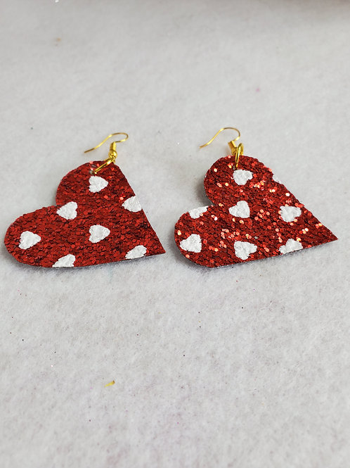 Red w/white hearts Faux Leather Hearts with gold-tone wires