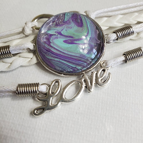 """Artistic Acrylic 7""""-9"""" white Multi-Strand adjustable multi purple/teal Bracelet"""